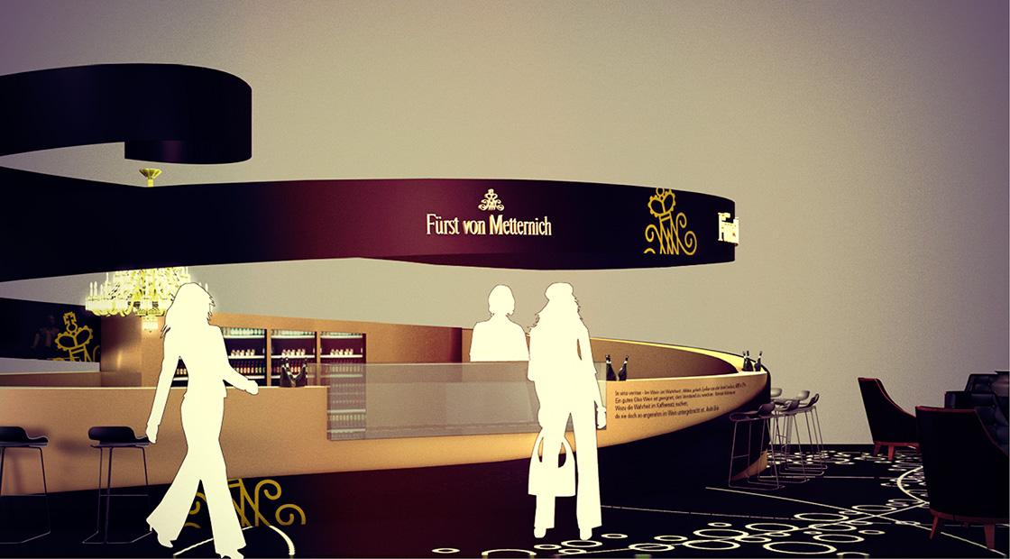 Gastronomiedesign: Markenraum Fürst von Metternich Sektlounge am Frankfurter Flughafen Terminal 1