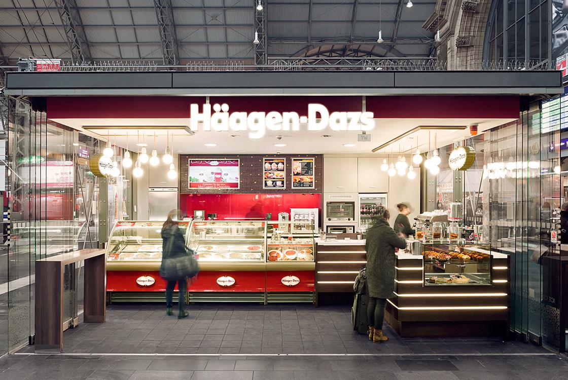 Gastronomiedesign: Häagen-Dazs Bahnhofshop Hamburg und Frankfurt 02